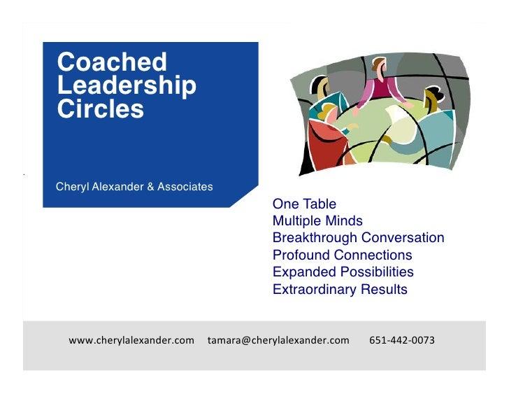 Coached        Leadership        Circles.         Cheryl Alexander & Associates!                                        ...