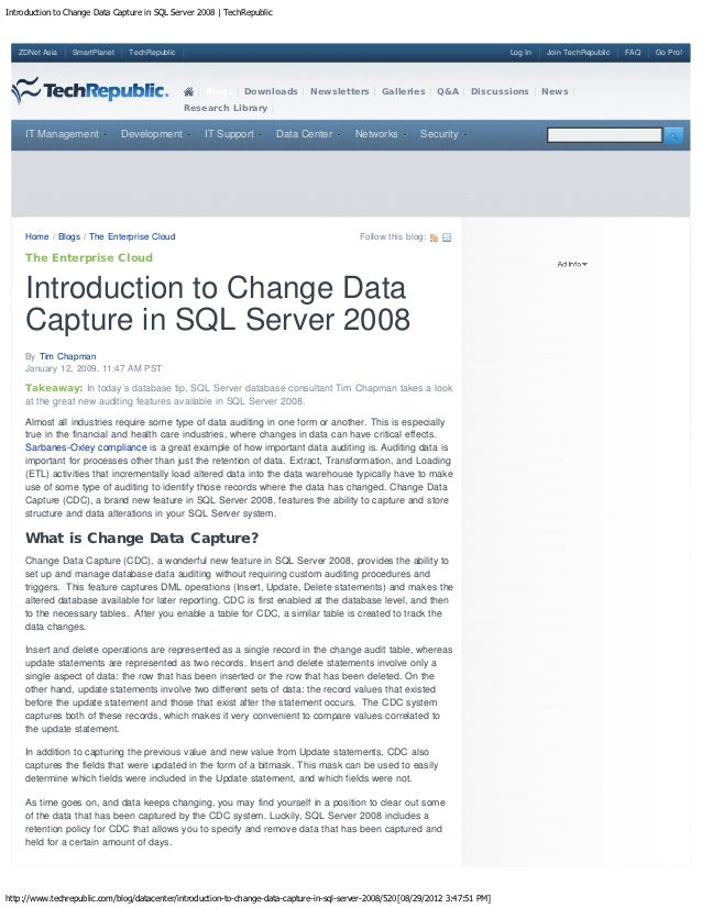 Introduction to change data capture in sql server 2008   tech republic
