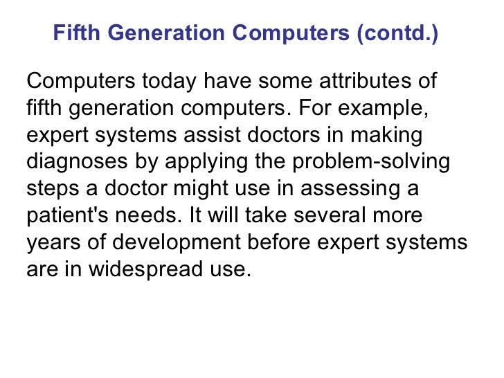 Fifth Generation Computers Examples Fifth Generation Computers