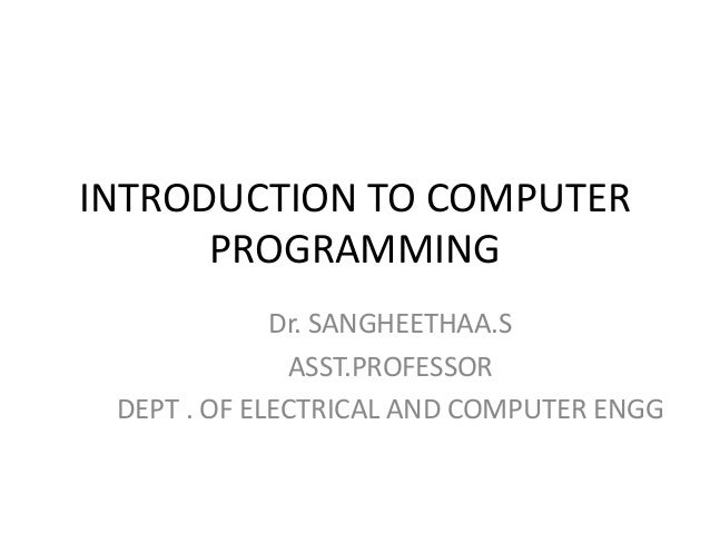 introduction to programming and computing lab1 Mit electrical engineering and computer science courses available online and for free hands-on introduction to electrical engineering lab skills a gentle introduction to programming using python.