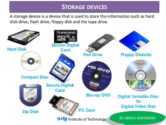 Of Secondary Storage Device Types Of Secondary Storage Devices