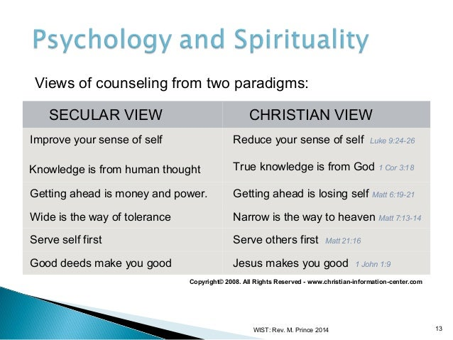 christian counseling and secular psychology essay
