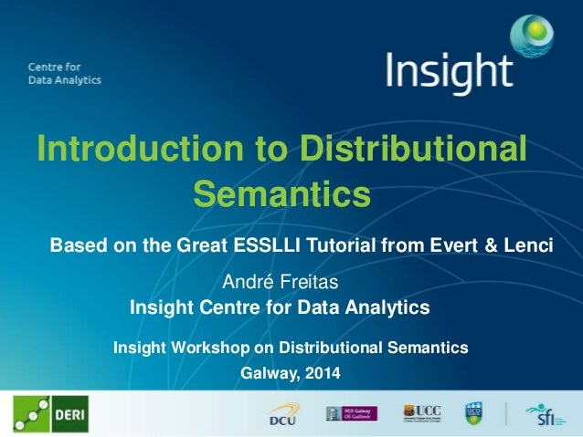 Introduction to Distributional Semantics André Freitas Insight Centre for Data Analytics Insight Workshop on Distributiona...