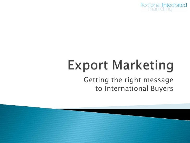 Introduction To Export Marketing