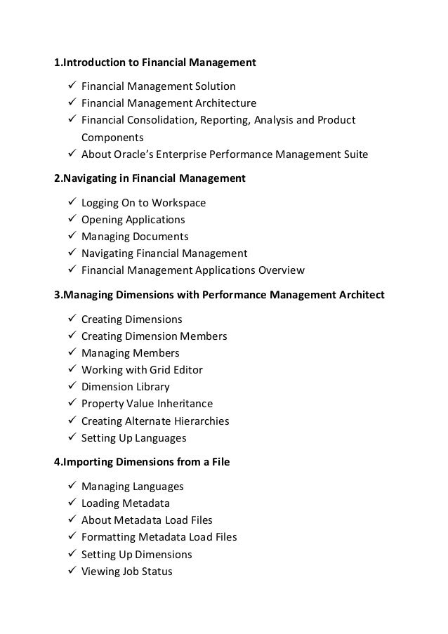 1.Introduction to Financial Management  Financial Management Solution  Financial Management Architecture  Financial Con...