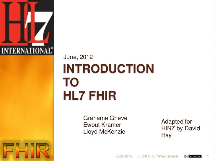 Introduction to HL7 FHIR