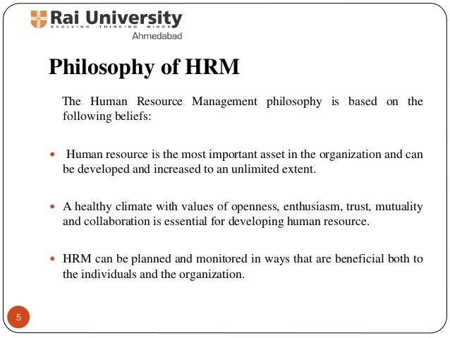 philosophy of human resource management Statement of philosophy  provide directives for managers/supervisors in the day -to-day management of their employee population  human resources menu.