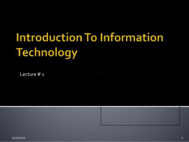 Lecture # 111/21/2012         1