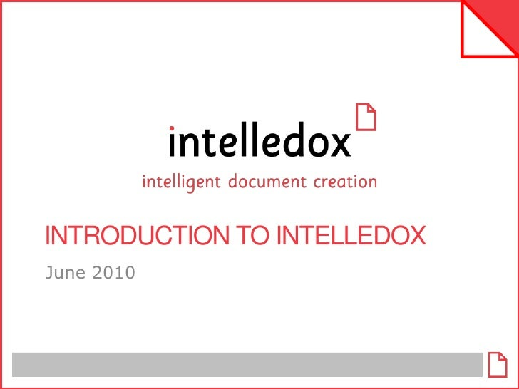 Introduction To Intelledox June 2010