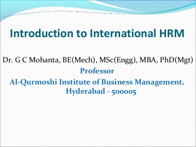 Introduction to international HRM