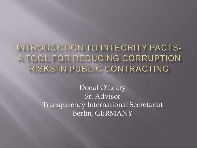 Introduction to Integrity Pacts - A Tool for Countering Corruption in Public Contracting