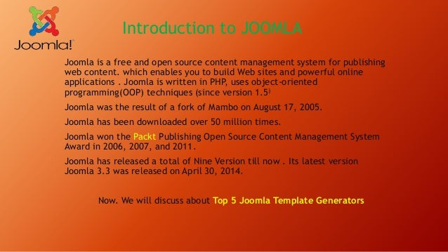 Introduction to joomla top 5 joomla template generator for Joomla template creator open source