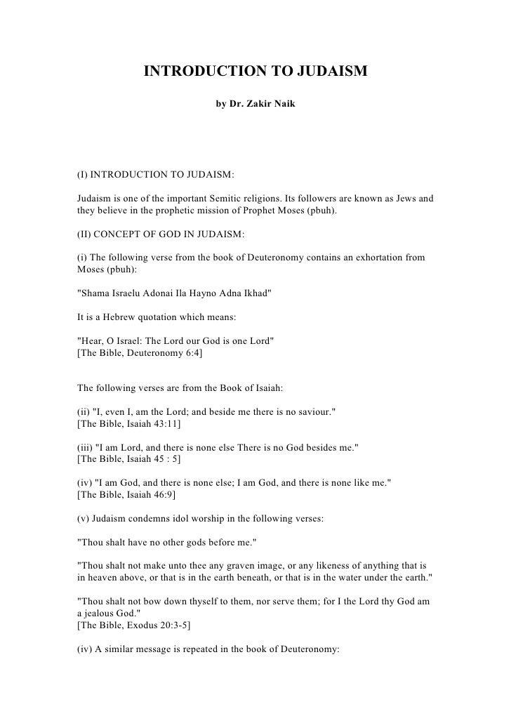 Introduction To Judaism (Dr Zakir Naik)