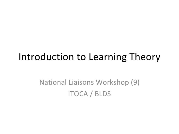 Introduction to Learning Theory National Liaisons Workshop (9) ITOCA / BLDS