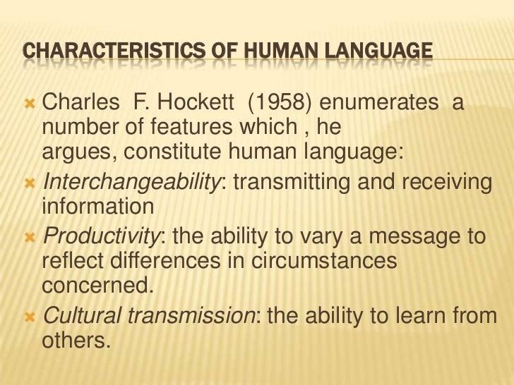 characteristics of the human language