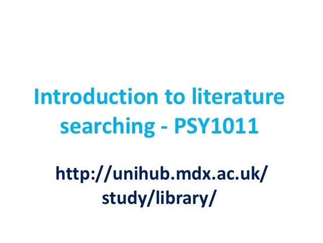 Introduction to literature searching first year psychology