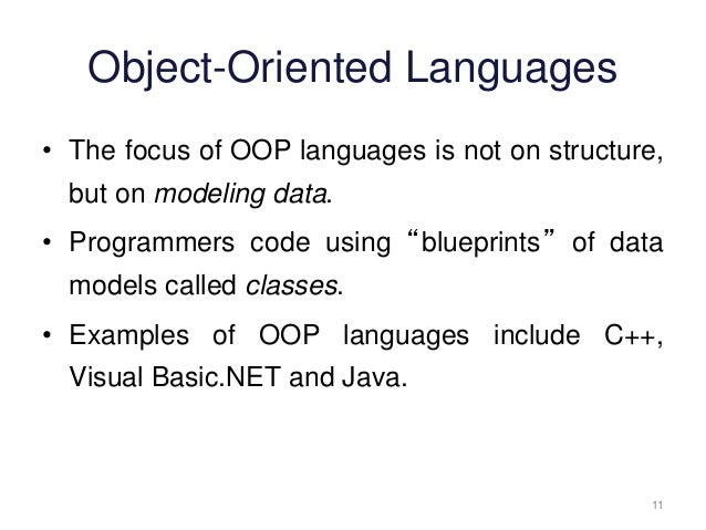 introduction to oop Introduction to object-oriented programming all of the code you have been producing so far has used the structured approach to programming structured programming is characterised by the following features.