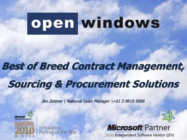 Best of Breed Contract Management, <br />Sourcing & Procurement Solutions<br />Jim Zelener  National Sales Manager +61 3 9...