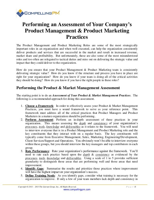 Introduction to performing an assessment of your company's product management & product marketing practices