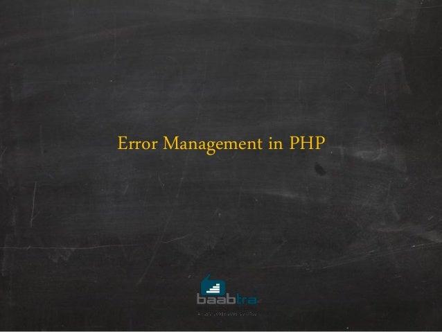 Error Management in PHP
