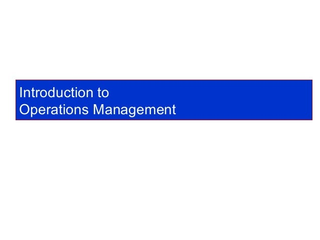 Introduction to production operation management