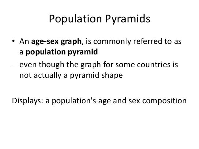 Population Pyramids • An age-sex graph, is commonly referred to as a population pyramid - even though the graph for some c...