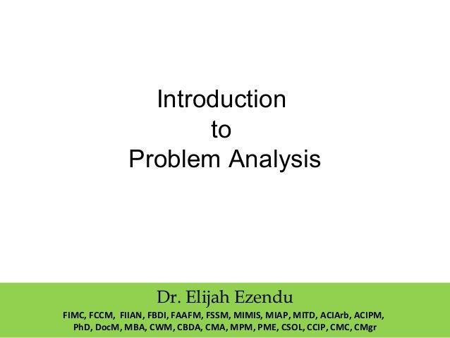 Introduction To Problem Analysis