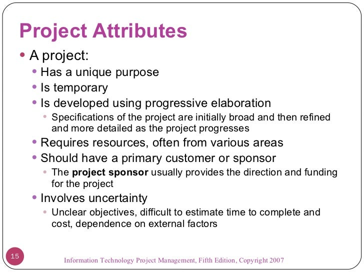 attributes of a project Certain traits and abilities distinguish the more successful project managers this article discusses a number of these traits, such as the ability to create and.