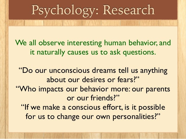 Psych phenomenon to research?