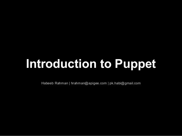 Introduction to puppet