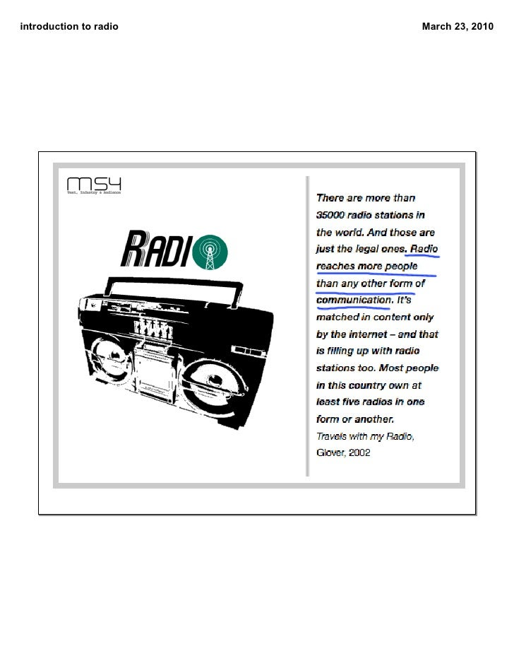 introduction to radio   March 23, 2010