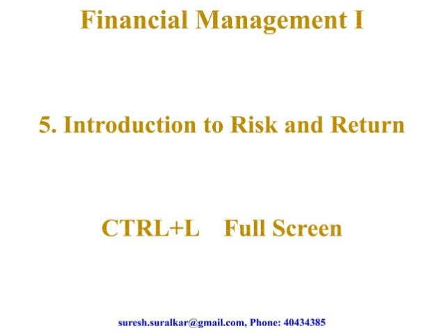 Introduction to risk and return   1