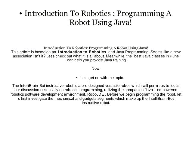 robotics programming in java pdf