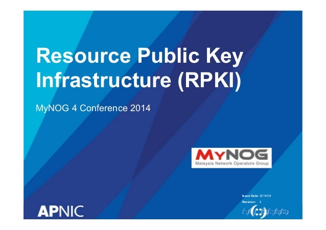 Issue Date: Revision: Resource Public Key Infrastructure (RPKI) MyNOG 4 Conference 2014 2014/08 2