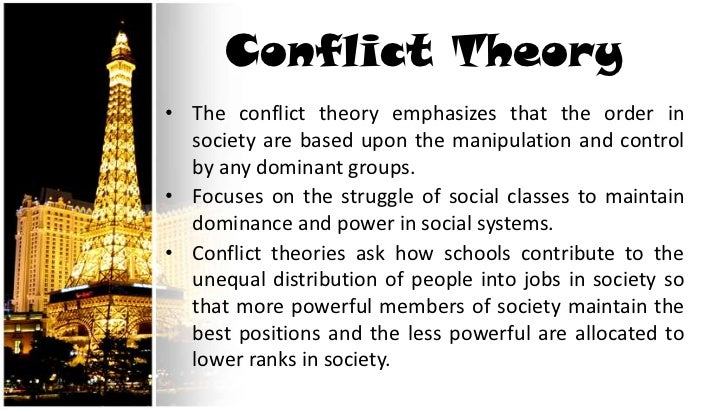the ideology and concept of the conflict theory Conflict theory states that conflicts breed in society when a powerful minority  rules against the  understanding conflict theory  ideological coercion which  created consensus--and acceptance of the values, expectations,.