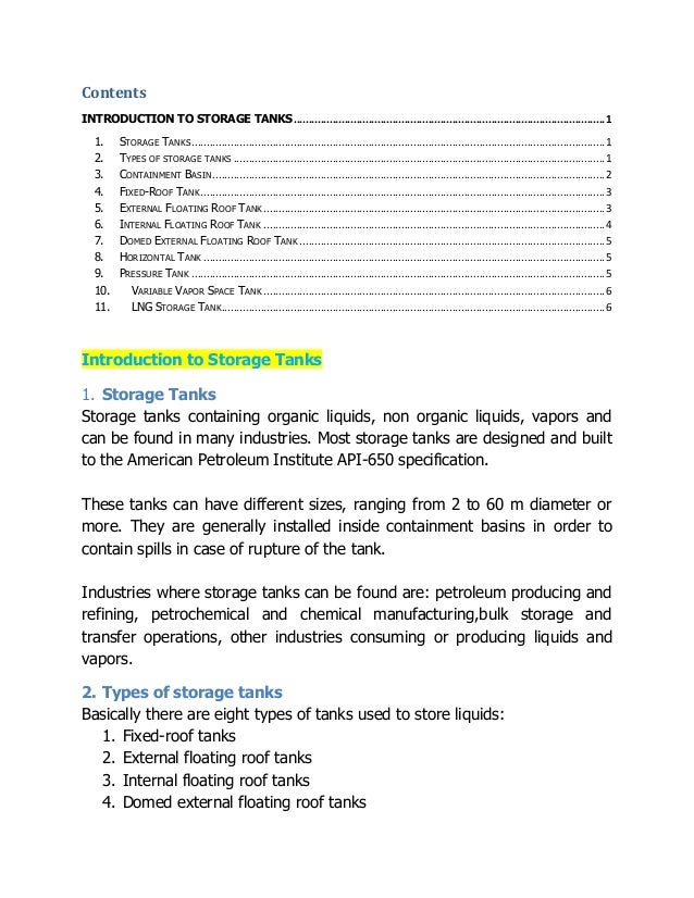 Contents INTRODUCTION TO STORAGE TANKS.......................................................................................