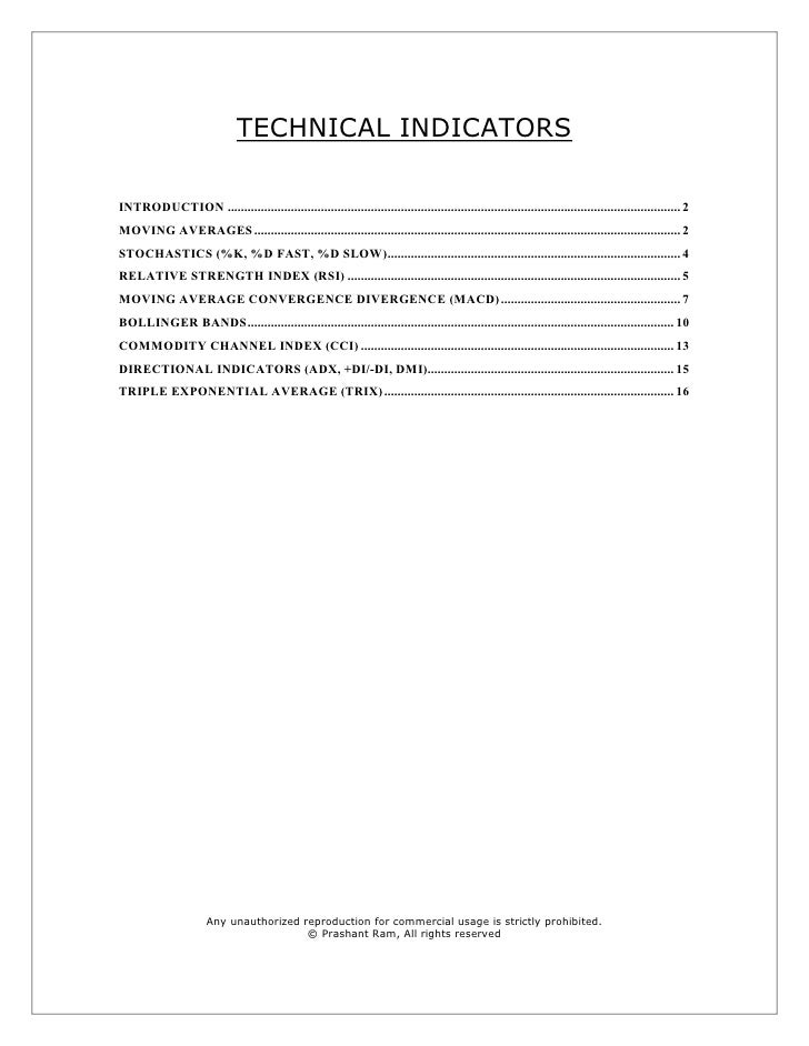 TECHNICAL INDICATORS  INTRODUCTION ..........................................................................................