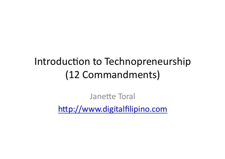 Introduction to Technopreneurship by Janette Toral