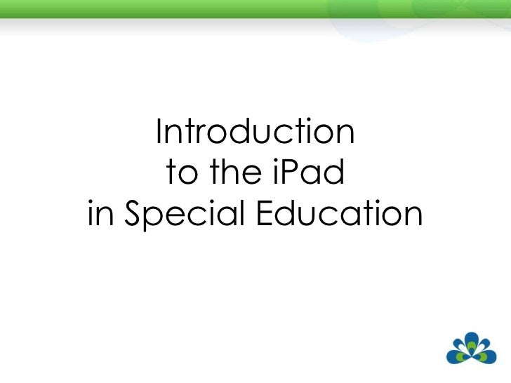 Introduction to the iPad in Special Education