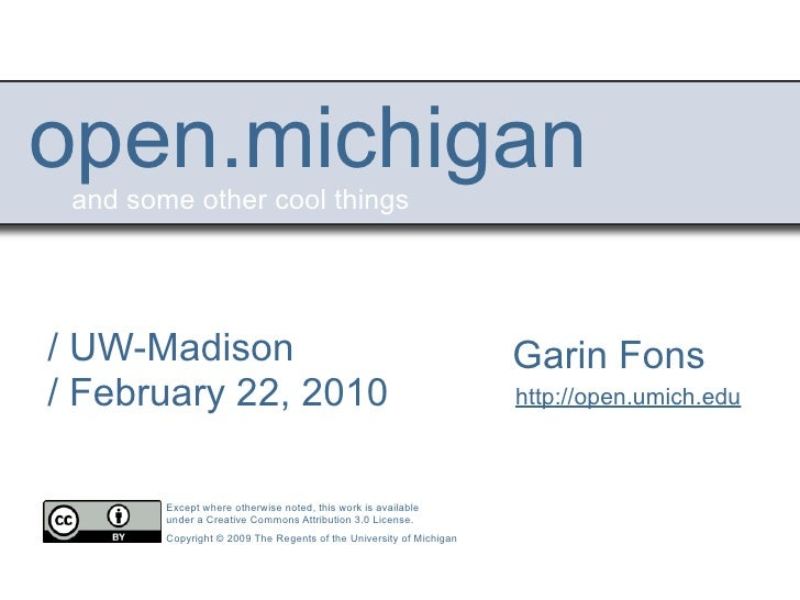 Introduction To The Open Michigan Initiative
