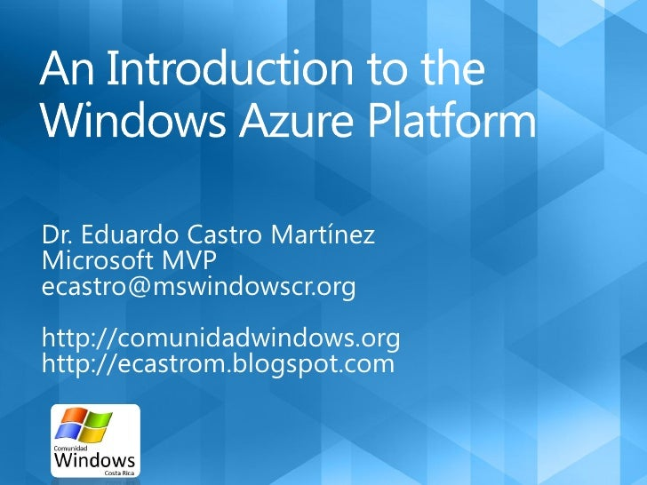 Introduction to the SQL and Windows Azure Platform