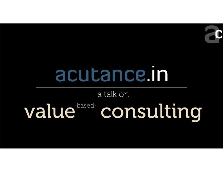 Introduction to Value Consulting