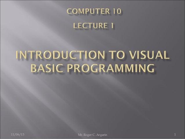 Introduction to visual basic programming