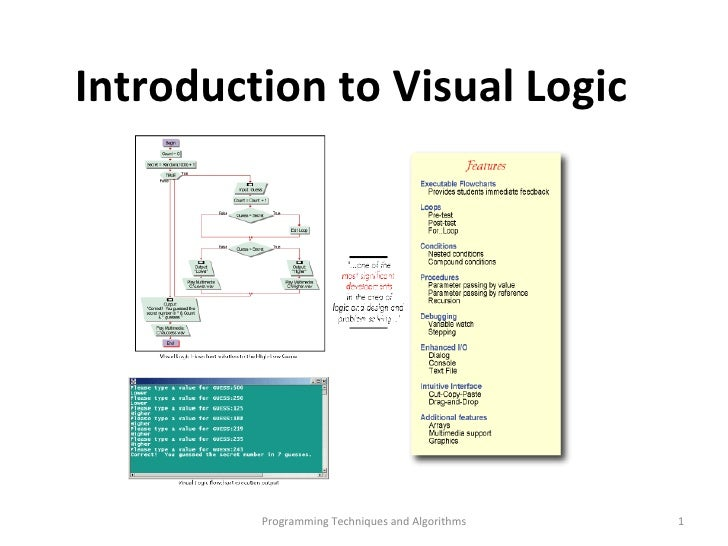 Programming Techniques and Algorithms Introduction to Visual Logic