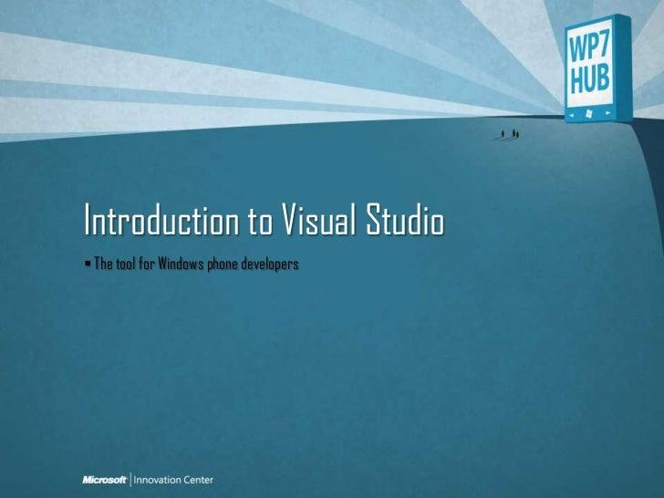 WP7 HUB_Introducción a Visual Studio