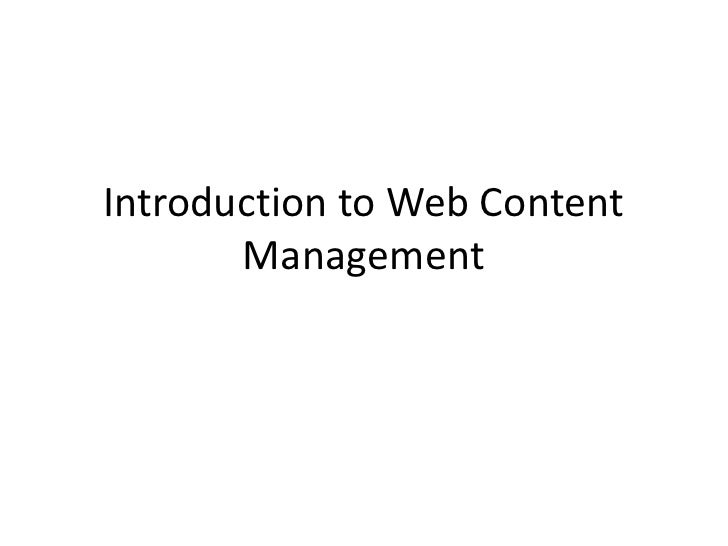 Introduction to Web Content Management<br />