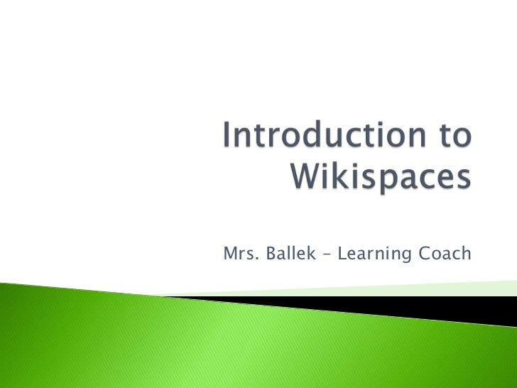 Introduction to wikispaces
