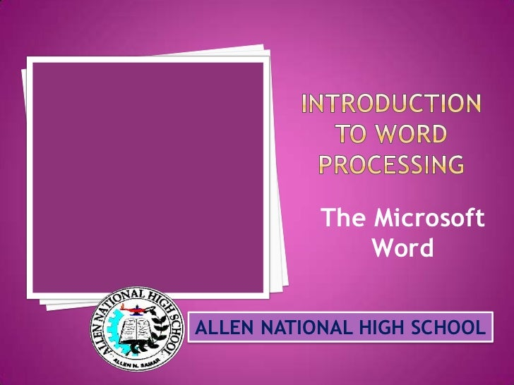 The Microsoft               WordALLEN NATIONAL HIGH SCHOOL