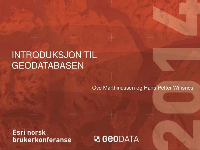 INTRODUKSJON TIL GEODATABASEN Ove Marthinussen og Hans Petter Winsnes