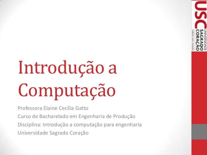 Introdução aComputaçãoProfessora Elaine Cecília GattoCurso de Bacharelado em Engenharia de ProduçãoDisciplina: Introdução ...